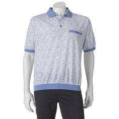 Big & Tall Safe Harbor Classic-Fit Banded-Bottom Polo, Light Blue