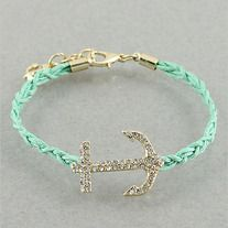 Mint Crystal Anchor Sail Away Bracelet