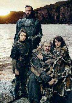 The Hound, Arya, Hodor and Bran