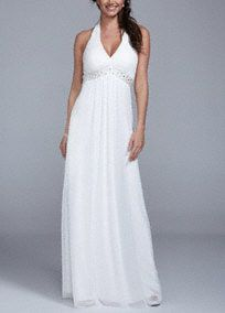 You will look alluringwhilecreating new beginnings in this beautiful wedding dress!  Ultra-feminine halter bodice features shimmering beaded waist for a touch of glam.  Long soft a-line silhouette is flattering and chic.  Fully lined. Back zip. Imported polyester. Dry clean.  To protect your dress, try our Non Woven Garment Bag.