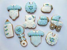 Baby Boy Cookies no source Blue, White, Bottle, Rattle, Onsie, Bib, Carriage, Bear, Bootie