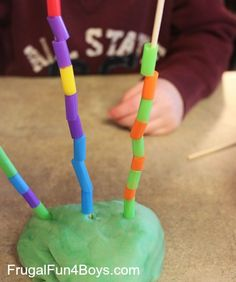 "Pre-school Pattern Towers - bamboo skewers, playdough & colourful drinking straws cut in pieces ("",)"