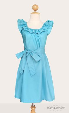 Custom  bridesmaid ruffled collar dress w/ sash, pockets in turquoise and many colors - custom size and length. $50.00, via Etsy.