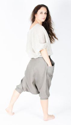Linen skirt / Modern culottes / Wide Skirt Pants / for woman in Gray / Natural color  from Fancy Flax on Etsy, $77.00
