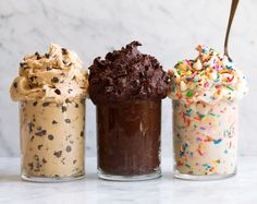 Edible Cookie Dough 3 Ways! dinner for 4 Edible Cookie Dough Delicious Flavors} - Cooking Classy Cookie Dough Vegan, Cookie Dough Recipes, Chocolate Chip Cookie Dough, Baking Recipes, Dessert Recipes, Cookie Dough Brownies, Cookie Dough Dip, Cookie Dough For One, Protein Cookie Dough