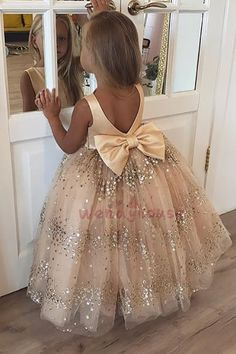Buy Princess Ball Gown Champagne Sequins Bowknot V Back Flower Girl Dresses in uk. Find the perfect flower girl dresses at PromDress. Our flower girl dresses come in a variety of styles & colors including lace, tulle, purple & gold Toddler Flower Girl Dresses, Little Girl Dresses, Girls Dresses, Baby Dresses, Dresses For Toddlers, Gold Flower Girl Dresses, Tulle Flower Girl, Girls Gold Dress, Floral Dresses