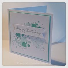 Stampin Up Gorgeous Grunge, Happiest of Birthdays (ink is Coastal Cabana, Pool Party & Encore Silver)