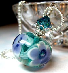 Handmade teal necklace Sterling silver Teal by JewelrybyDorothy, $32.00    This is beautiful.  Love it!