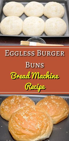 Eggless Burger Buns recipe made using a Bread Machine. These are perfect homemade burger buns to make your favorite burgers. Top the burger buns with sesame seeds or poppy seeds. Eggless Bread Recipe, Eggless Recipes, Best Bread Recipe, Eggless Baking, Vegan Recipes, Aloo Recipes, Cooking Recipes, Soft Burger Buns Recipe, Homemade Burger Buns