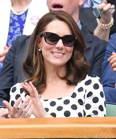 Love her <3 LONDON, ENGLAND - JULY 03:  Catherine, Duchess of Cambridge attends day one of the Wimbledon Tennis Championships at Wimbledon on July 3, 2017 in London, United Kingdom.  (Photo by Karwai Tang/WireImage) via @AOL_Lifestyle Read more: https://www.aol.com/article/entertainment/2017/07/04/kate-middleton-looks-perfect-in-polka-dots-at-wimbledon-chats-w/23015732/?a_dgi=aolshare_pinterest#fullscreen