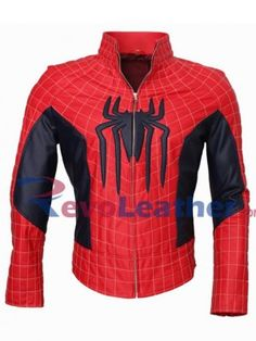spideman red black leather jacket of mens super hero fancy style with halloween costume look