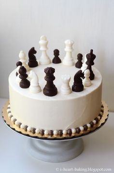 Chess Board Birthday Cake Designs Chess Cake With Handmade Chocolate Chess Pieces I Heart Baking Cupcakes, Cupcake Cakes, Chess Cake, Video Game Cakes, Handmade Chocolates, Occasion Cakes, Fancy Cakes, Creative Cakes, Custom Cakes