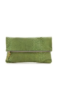 Boutiques > Fall 2012 Trends Boutique > Color Forms  Description  A slim fold-over clutch styled in delicate, snake-embossed leather adds a touch of vintage elegance to any look. The zip top opens to an unlined interior.    Leather: Cowhide.  Weight: 4oz / 0.11kg.  Made in the USA.    MEASUREMENTS  Folded height: 5.5in / 14cm  Unfolded height: 11in / 28cm  Length: 11in / 28cm