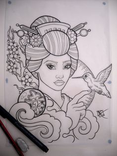 Geisha Tattoo Sketch uploaded by Akira on We Heart It Geisha Tattoo Sketch, Geisha Tattoos Sleeve, Geisha Tattoo For Men, Asian Tattoo Sleeve, Geisha Drawing, Geisha Tattoo Design, Sleeve Tattoos For Women, Tattoo Sketches, Tattoo Drawings