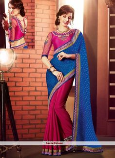 Magenta And Blue Faux Georgette And Jacquard Saree