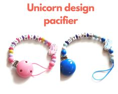 Unicorn Personalized Pacifier Clip - Wooden Pacifier Holder - Name Pacifier Clip - Baby Shower Gift - Teething Clip - Soother Clip by KIDSTYLEIRELAND on Etsy