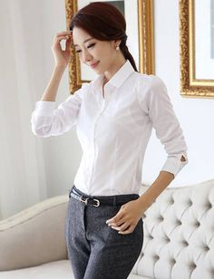 OL Style Pointed Collar Pure Color Shirt