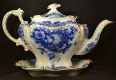 ANTIQUE ENGLISH TEA POT FLOW BLUE PORCELAIN FINE CHINA 1912 FLORAL VERY FINE!!!!