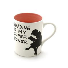 Reading is My Superpower Mug PINK - Earthenware