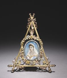 Triangular Frame with Portrait of Czarina Alexandra Feodorovna  firm of Peter Carl Fabergé (Russian, 1846-1920)
