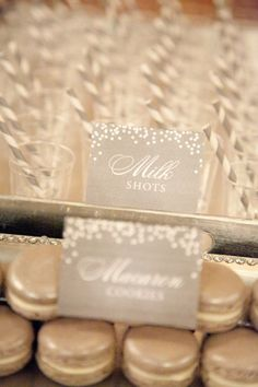 Silver macarons and milk shots. Eye Candy Event Design. Photography by Tana Photography / TanaPhotography.com