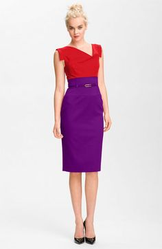 Black Halo Colorblock Belted Sheath Dress