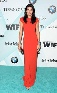 Angie Harmon Evening Dress - Though simple in design, Angie Harmon's Max Mara gown at the Crystal + Lucy Awards caught eyes with its bright red hue.