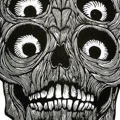 Detail  #linocut  #lino #printmaking  #skull #teeth #eyes #grin by scottminzy