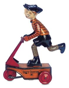 """""""Smitty Scooter"""" tin wind up Metal Toys, Tin Toys, Belle Epoque, Doll Toys, Dolls, Children's Toys, Toys In The Attic, Toys For Us, Vintage Tins"""