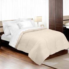 Veratex Supreme Sateen 300-Thread Count Down Alternative Comforter, Beige