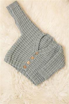 1404: Modell 5 Babyjakke #strikk #merinoull