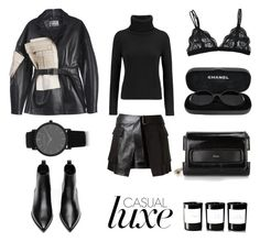 """Leather on Leather"" by fashionlandscape ❤ liked on Polyvore featuring moda, Byredo, Chanel, Acne Studios, N.Peal Cashmere, Chloé, Alexander McQueen e Larsson & Jennings"