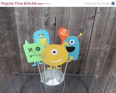 ON SALE Monster Birthday Party Centerpiece/Table Decoration