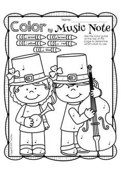 ST. PATRICK'S DAY MUSIC PRINT & GO - TeachersPayTeachers.com Coloring page for a listening activity. Maybe a story recording or intro to Orchestra families?