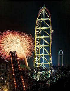 Top Thrill Dragster- 418 ft high, goes from 0 to 120 mph in 3.7 seconds. Amazing!