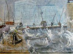 Zeebrugge Harbour, Gouache and watercolour, A3
