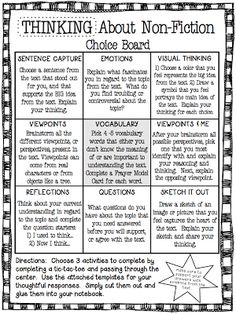 Differentiated nonfiction response board. Intermediate grades . Great for station activity.