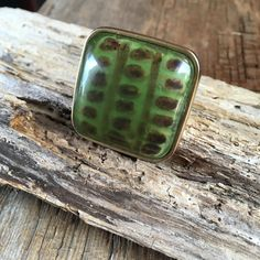 large green adjustable ring, large square green ring, statement cocktail ring, green brown large ring, gift for her, statement ring, by Bedotted on Etsy