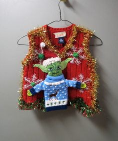 Kids Boys Girls Star Wars Themed Yoda wearing an Ugly Sweater Tacky Ugly Christmas Sweater Vest 3-D  size 4 by tackyuglychristmas on Etsy