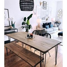 home Reclaimed Wood & Metal Dining Table - Farmhouse Table, Rustic Dining Table Reclaimed Wood Dining Table, Dining Table With Bench, Rustic Table, Hairpin Dining Table, Industrial Dining, Wooden Dining Tables, Dining Room Design, Farmhouse Table, Apartment Living