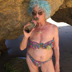"Advanced Style: ""I don't date men in speedos."" 78-year-old @purplehaze75 (@trinaturk swimsuit)"