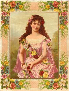 Victorian Woman with Roses in Ornate Flower Border Antique French Chromo Print