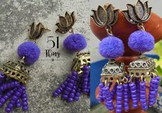 Jhumka collection. #Handcrafted #Jewelry #Earring #GermanSilver #Pompom. Visit my page on Facebook/51Thing