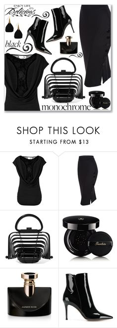 """""""Mission Monochrome: All-Black Outfit (Work Wear)"""" by jecakns ❤ liked on Polyvore featuring Cult Gaia, Guerlain, WALL, Bulgari, Gianvito Rossi, monochrome, skirt, allblackoutfit and legant"""
