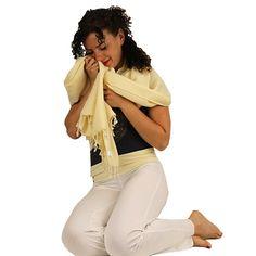 Meditatie omslagdoek effen geel - 200x80 cm -