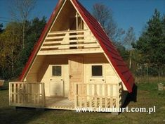 Domki letniskowe - SOKOŁEK Small Log Cabin, Tiny House Cabin, Tiny House Plans, A Frame Cabin, A Frame House, Bungalow Hotel, Prefab Cabins, Bamboo House, Wooden Buildings