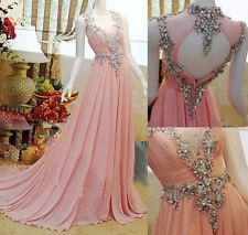 New Style Stone Chiffon Prom Pageant Dresses Open Back Formal Evening Gowns