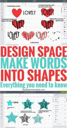 Edit Shapes in Cricut Design Space - Cut Out Text Hello Daydreamers! Shapes are one of the most significant features in Cricut Design Space, and Cricut Fonts, Cricut Vinyl, Cricut Air, Circuit Projects, Vinyl Projects, Craft Projects, Sewing Projects, Cricut Help, Cricut Craft Room