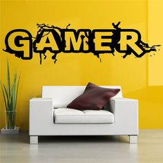 Wall Room Decor Art Vinyl Sticker Mural Decal Gamer Word Game Big Large Home Decor Wall Stickers # T427 #Affiliate