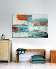 Large abstract painting  White on colors  Acrylic by RonaldHunter, €189.00